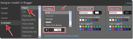 come cambiare carattere colore dimensione post blogger