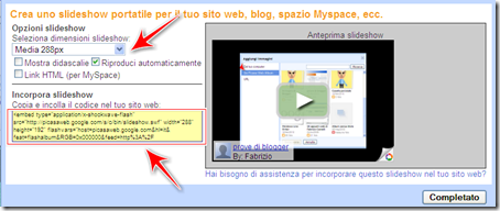 come incorporare slideshow picasa blog blogger