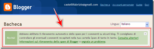 come gestire eliminare commenti spam blogger