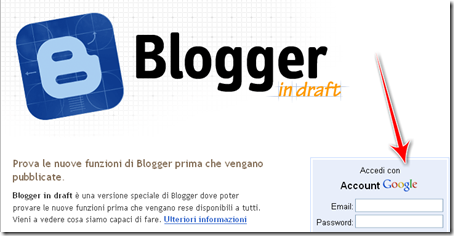 come fare login accesso blogger in draft