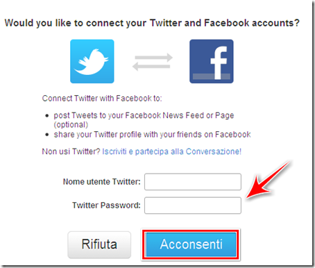 come collegare twitter a facebook