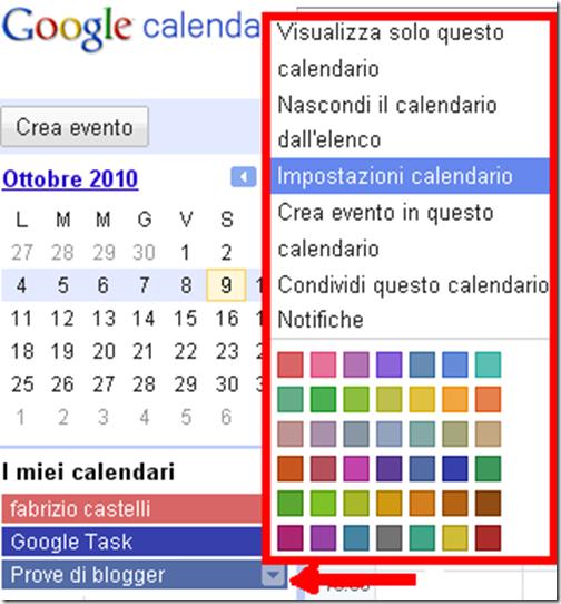 impostazioni inserire aggiungere calendario blog blogger