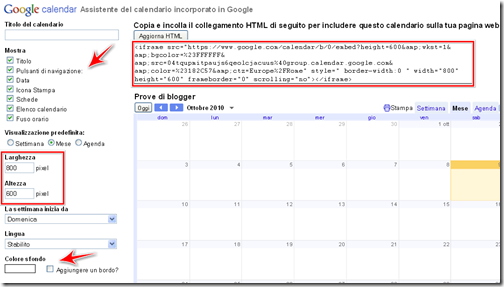 come incorporare widget calendario personale blogger wordpress