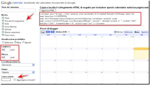 come incorporare widget calendario personale blogger wordpress