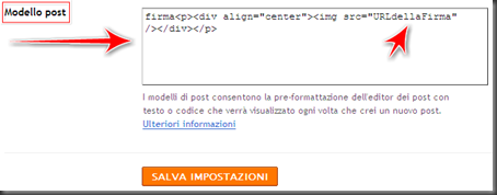 come aggiungere firma automatica post blogger