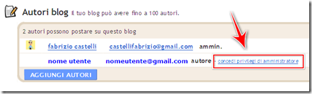 come nominare nuovo amministratore blog blogger