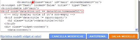 come inserire gadget testo blog blogger solo home page
