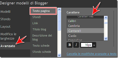 come cambiare carattere font testo post blog blogger