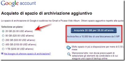 come acquistare spazio aggiuntivo picasa web blogger gmail