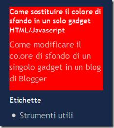 come mettere sfondo diverso gadget blogger evidenziare testo