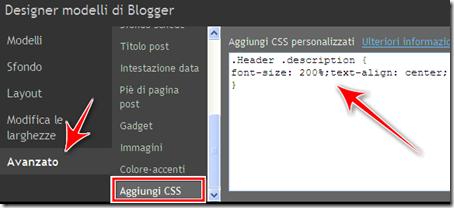come centrare ingrandire testo descrizione blog blogger