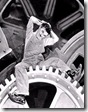 Conocida escena de la película «Tiempos modernos» (1936), de Charles Chaplin