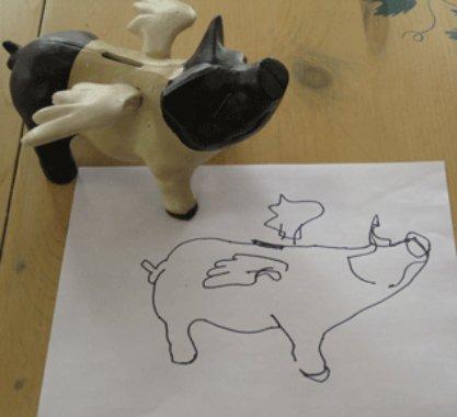 blind contour piggy