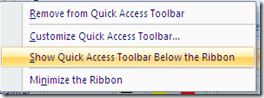 Show Quick Access Toolbar Below the Ribbon