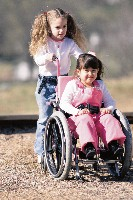 Little girl in wheelchair