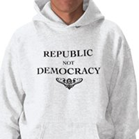 Man wearing hoodie that reads-Republic not Democray