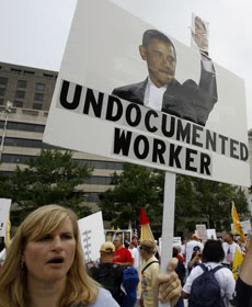 Woman with racist sign
