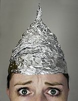 Woman in tinfoil hat