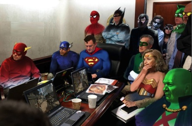 White House staff dressed as superheroes