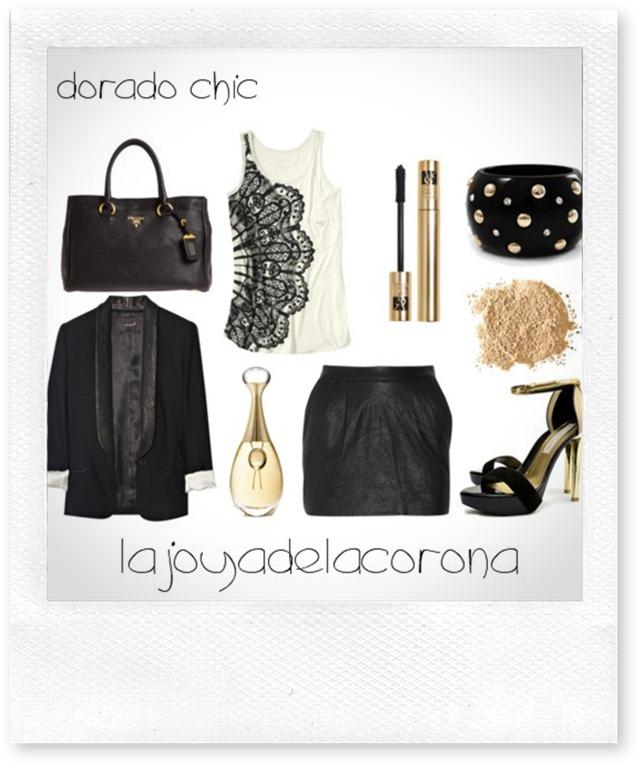 falda negro y dorado