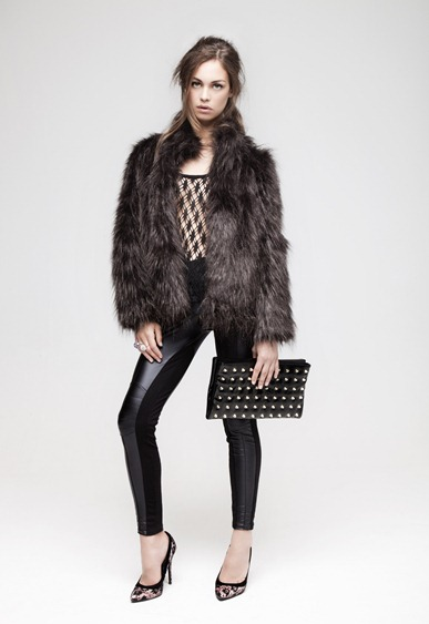 •	Fishnet crop top £8 	•	Chocolate fur coat £27 	•	Wet look biker legging £7 	•	Lace court shoes £12 	•	Black studded clutch £7