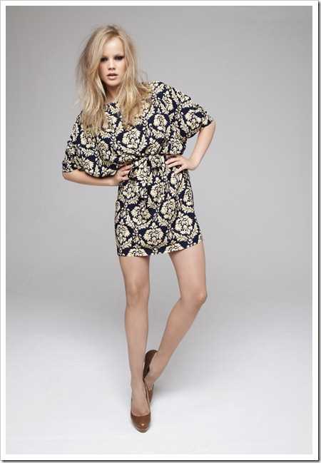 Damask print tunic £13 due in store beg. September, Stack heel platform £15 in store now.