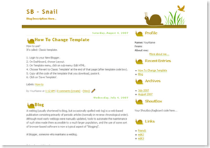 cute snail blogspot template, plain template