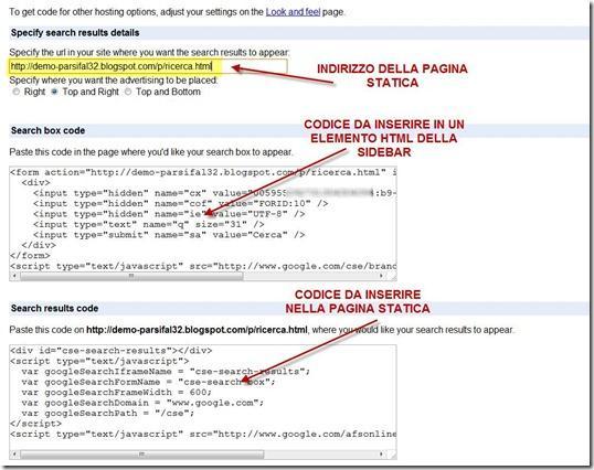 codici ricerca pagina statica
