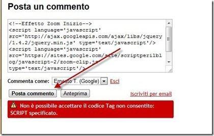 commento HTML su Blogger