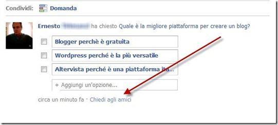 chiedi agli amici domande facebook