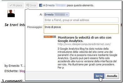 invia send facebook pulsante