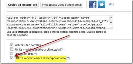 vecchio codice di youtube
