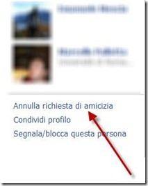 annulla richiesta amicizia facebook