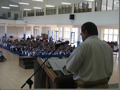 Fuka addresses the students
