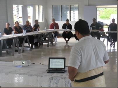 Oholei talks to workshop participants