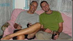 Steve and Chad drinking wine