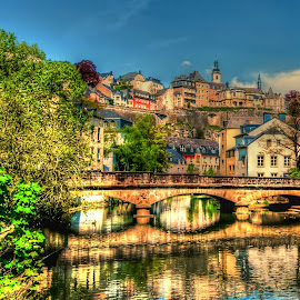 Luxembourg -Old Town by Piotr Owczarzak - City,  Street & Park  Historic Districts ( hill, old, hdr, colors, bridge, town, luxembourg, city )