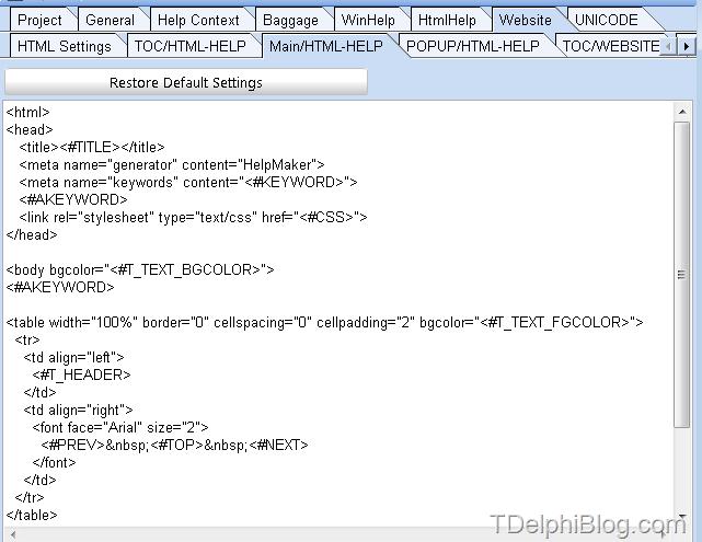 HelpMaker: Настройка шаблона HTML Help-а