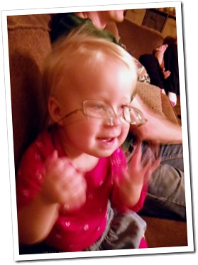 Lena in Grandma's glasses