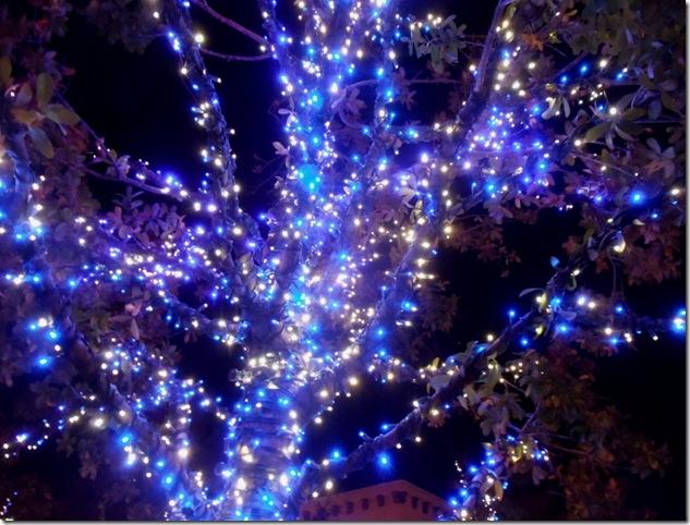 lights blue at night