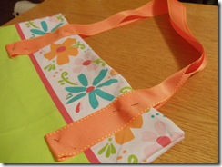 4 pin straps of ribbon in place