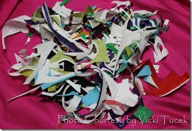 Scraps from cutting out shapes for Baileys and Regans quilts
