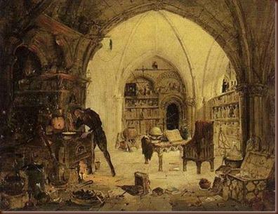 Ζωγραφική απεικόνιση αλχημιστή στο εργαστήριο του...