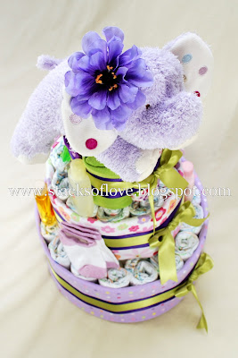 Diaper Cake with Purple Elephant
