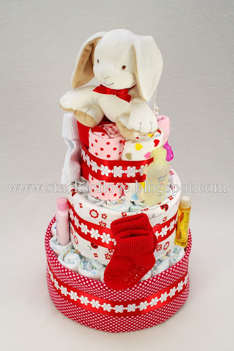 Diaper Cake, girl, red, white with plush bunny