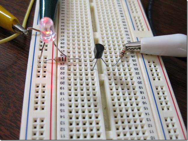 Breadboard Showing Transistor Circuit