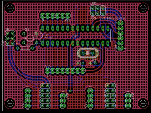 BOBs main board containing the atmega328 and headers for power and data to the motor control board and power board