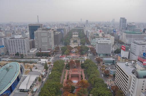 名古屋テレビ塔から見た紅葉の久屋大通公園