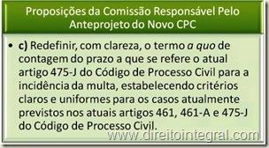 Novo CPC - Proposição da Comissão Responsável pelo anteprojeto - Resolução das dúvidas decorrentes do art. 475-J do código atual.