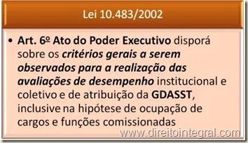 GDASST. Lei 10483 de 2002. Art. 6º.
